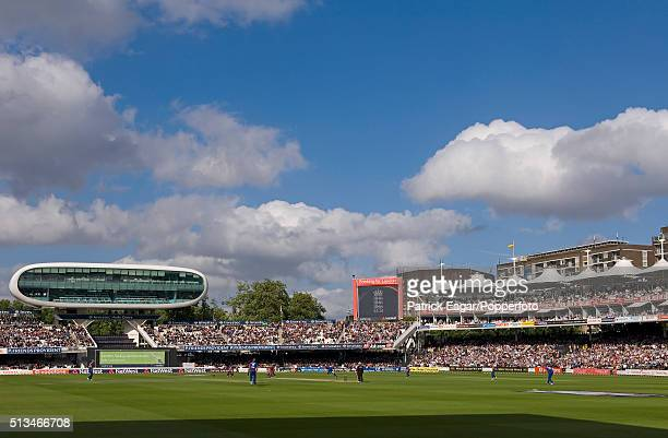 General view of Lord's showing the Media Centre and the Mound Stand with replacement roof during the NatWest Series One Day International between...