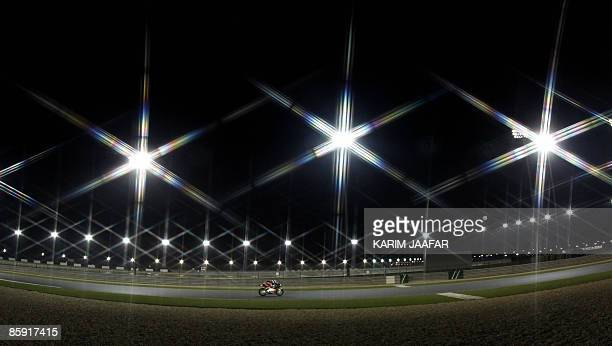 A general view of Losail International Circuit during the 125cc free practice for the Grand Prix of Qatar near Doha on April 11 2009 World Moto GP...