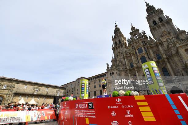 General view of Lotte Kopecky of Belgium and Team Liv Racing celebrates winning the green points jersey on the podium ceremony in the Plaza del...