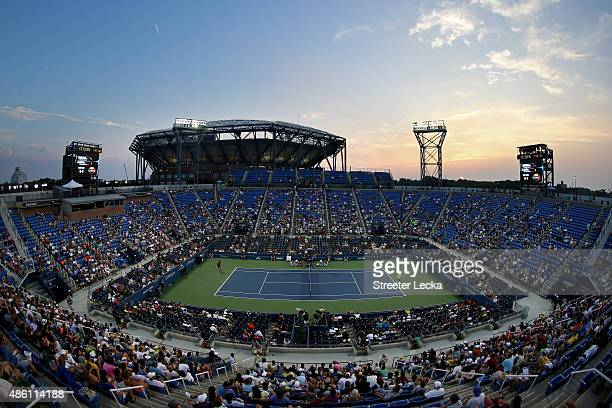 General view of Louis Armstrong Stadium during the match between Gael Monfils of France and Illya Marchenko of Ukraine during their Men's Singles...