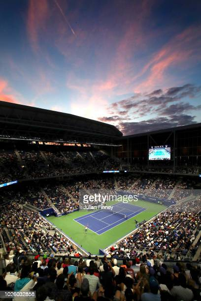 General view of Louis Armstrong Stadium during the men's singles third round match as Philipp Kohlschreiber of Germany celebrates match point in his...