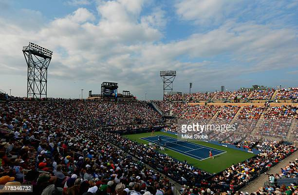 General view of Louis Armstrong Stadium during the women's singles second round match between Victoria Azarenka of Belarus and Aleksandra Wozniak of...