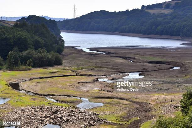 General view of low water levels in Bottoms Reservoir one of the Longendale Reservoirs near Tintwistle in the High Peak on July 5 2018 in Tintwistle...