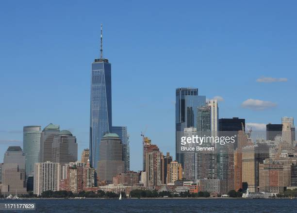 General view of lower Manhattan and Battery Park on August 29 2019 in New York City