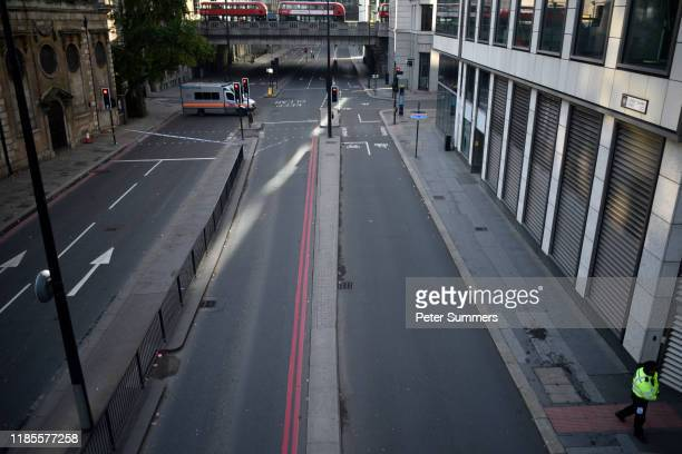 A general view of Lower Thames Street following yesterday's London Bridge stabbing attack as investigations continue on November 30 2019 in London...