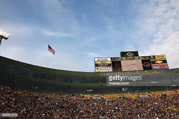 General view of lthe stadium during the game between the Green Bay Packers and the Indianapolis Colts on October 19, 2008 at Lambeau Field in Green...
