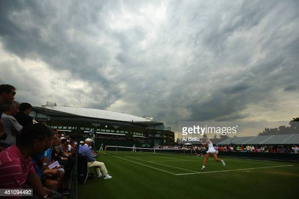 General view of Lucie Safarova of Czech Republic in action on court 10 during her Ladies' Singles first round match against Julia Goerges of Germany...