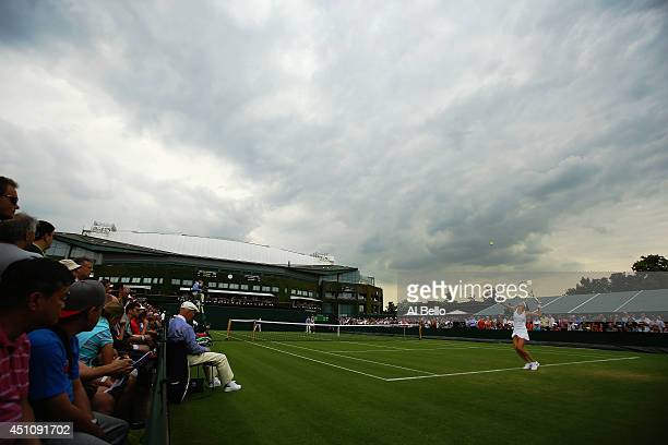 General view of Lucie Safarova of Czech Republic serving on court 10 during her ladies Singles first round match against Julia Goerges of Germany on...