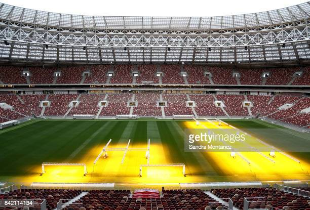 A general view of Luzhniki Stadium is seen during a media tour of Russia 2018 FIFA World Cup venues on August 29 2017 in Moscow Russia