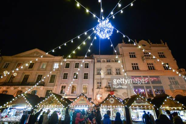 A general view of Lviv's Rynok Square with Christmas Market and decorations On Monday 8 January 2018 in Lviv Ukraine