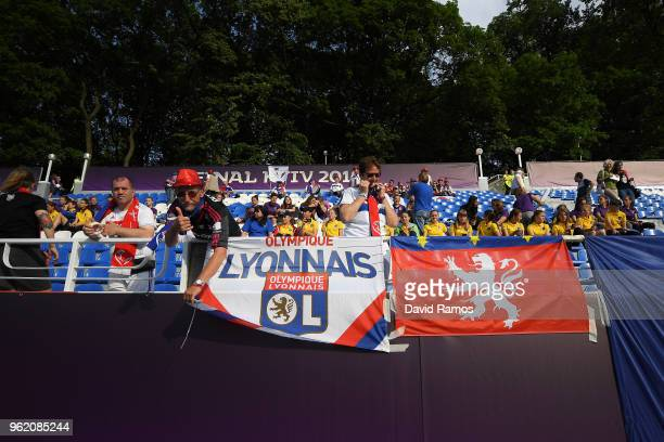 A general view of Lyonnais fans as they arrive ahead of the UEFA Womens Champions League Final between VfL Wolfsburg and Olympique Lyonnais on May 24...
