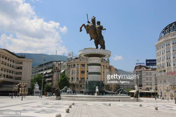 General view of Macedonia Square is seen ahead of the early general elections, in Skopje, North Macedonia on June 30, 2020. North Macedonia is to...