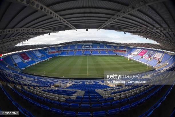 A general view of Madejski Stadium home of London Irish during the Aviva Premiership match between London Irish and Wasps at Madejski Stadium on...