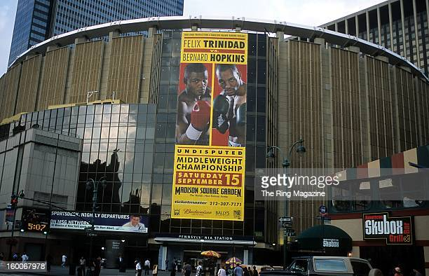 A general view of Madison Square Garden taken as the fight banner promoting Bernard Hopkins and Felix Trinidad fight in New York New York