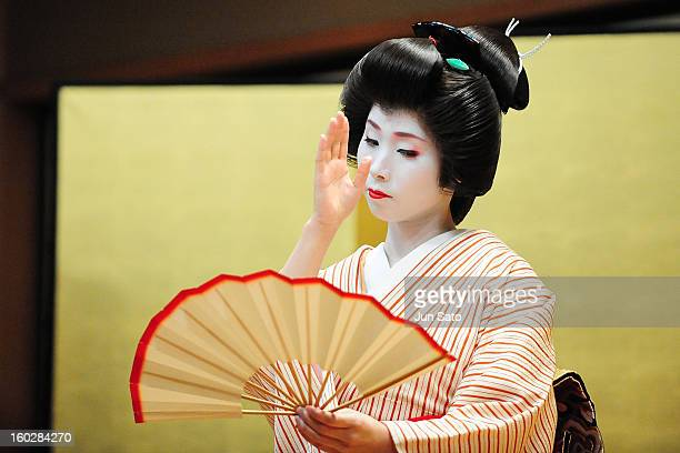 A general view of Maiko performing at private Damiani party at traditional restaurant in Kyoto Japan