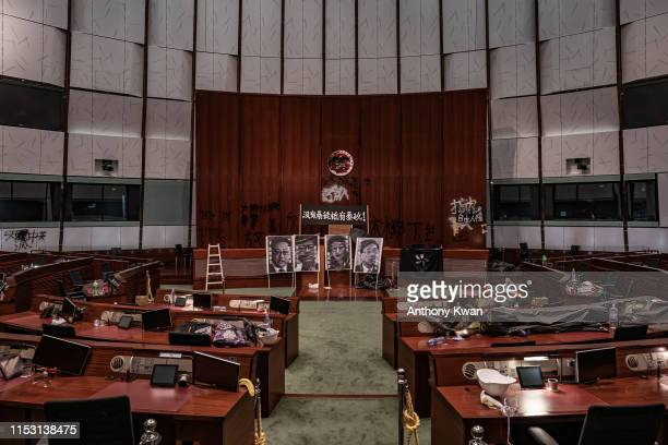 A general view of main chamber is seen at the Legislative Council building after it was damaged by demonstrators during a protest on July 2 2019 in...