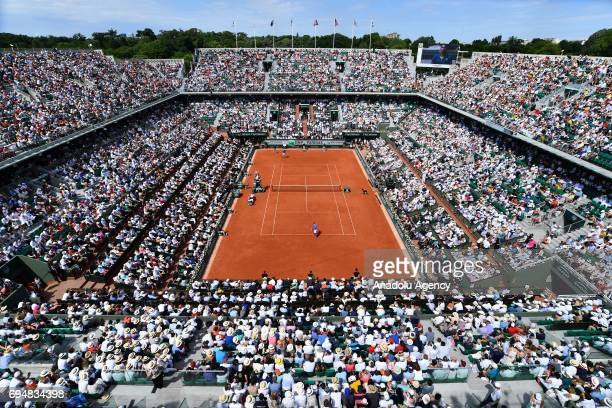 General view of main court PhilippeChatrier during the final match between Stan Wawrinka of Switzerland and Rafael Nadal of Spain of the French Open...