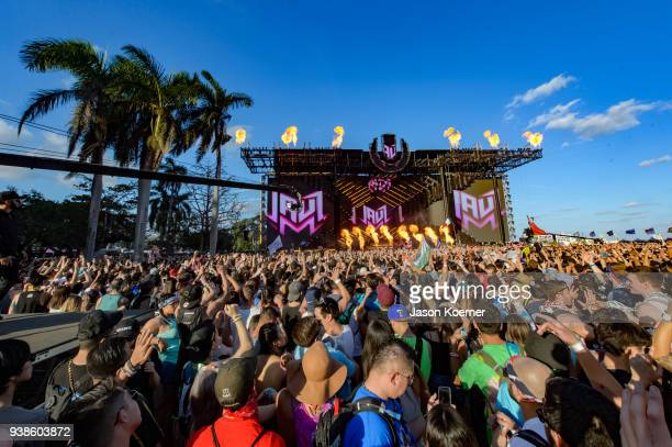 General view of main stage during Ultra Music Festival 2018 at Bayfront Park on March 24 2018 in Miami Florida