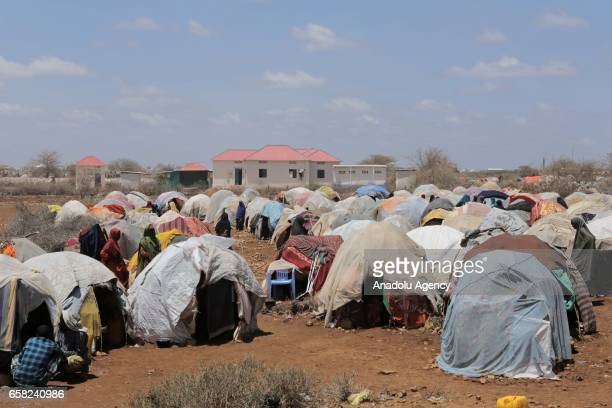 A general view of makeshift tents is seen during Turkish Red Crescent's visit at Baydhabo camp near the Mogadishu's rural side in Somalia on March 25...