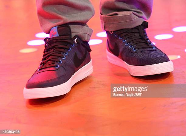 A general view of Mali Music's shoes during 106 Park at BET studio on June 18 2014 in New York City