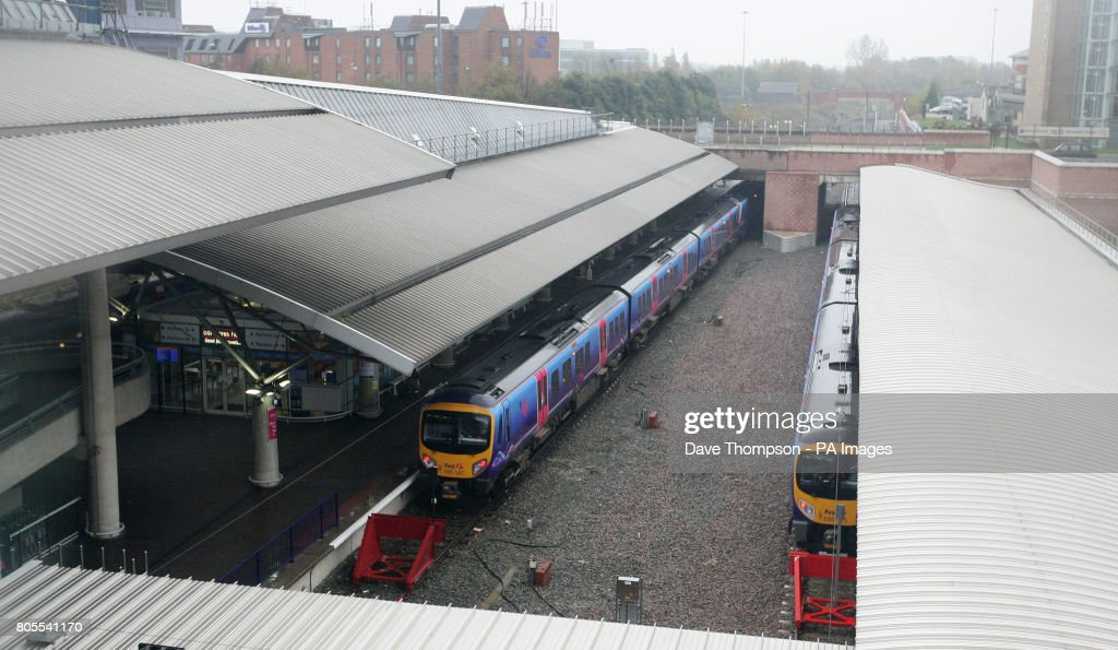 General view of Manchester Airport train station  News Photo