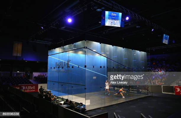 A general view of Manchester Central Convention Complex is seen as Camille Serme of France plays a backhand shot against Joelle King of New Zealand...