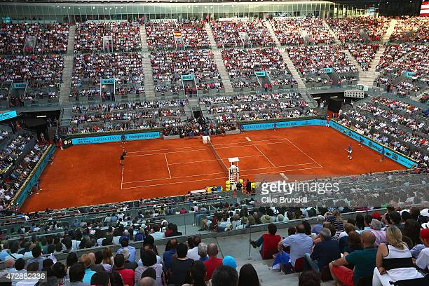A general view of Manolo Santana centre court showing Andy Murray of Great Britain in action against Rafael Nadal of Spain in the mens final during...