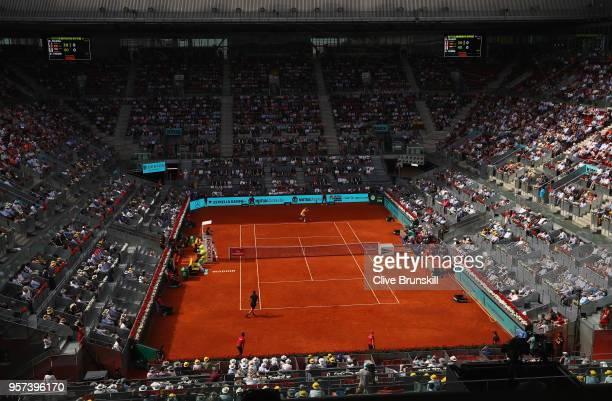 A general view of Manolo Santana court as Rafael Nadal of Spain plays against Dominic Thiem of Austria in their quarter final match during day seven...