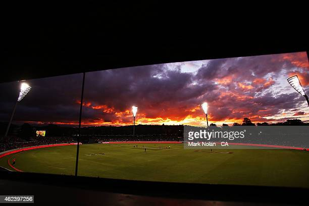 A general view of Manuka oval as the sun sets during the Big Bash League final match between the Sydney Sixers and the Perth Scorchers at Manuka Oval...
