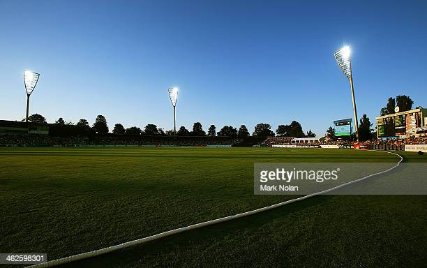 A general view of Manuka Oval as the sun sets over the field during the International tour match between the Prime Minister's XI and England at...