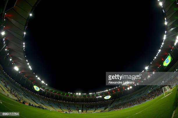 A general view of Maracana stadim during the national anthem before match between Fluminense and Gremio as part of Brasileirao Series A 2017 at...