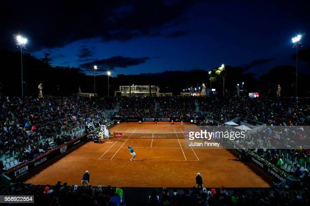 A general view of Marco Cecchinato of Italy in action against David Goffin of Belgium during day three of the Internazionali BNL d'Italia 2018 tennis...
