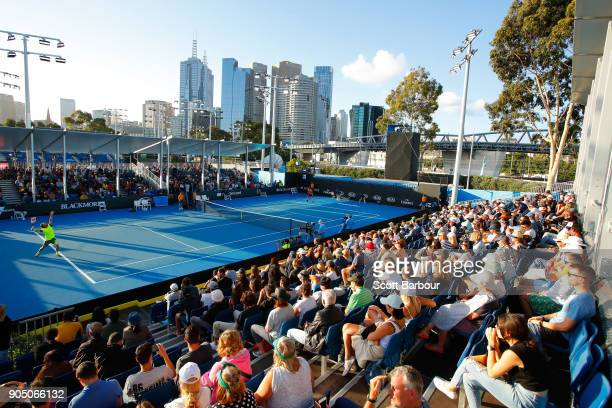 General view of Marcos Baghdatis of Cyprus serving in his first round match against Yuki Bhambri of Indonesia on court 8 on day one of the 2018...