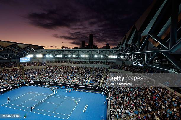 A general view of Margaret Court Arena as Joao Sousa of Portugal serves in his third round match against Andy Murray of Great Britain during day six...