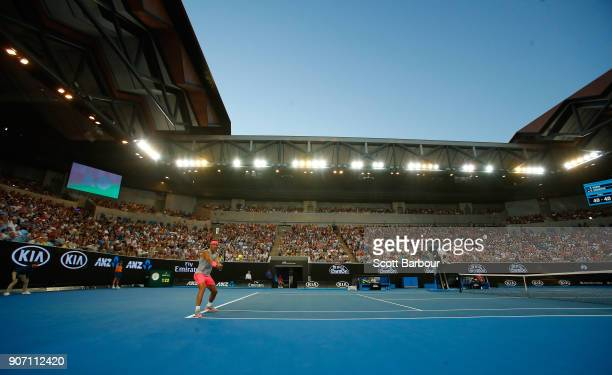 A general view of Margaret Court Arena as Rafael Nadal of Spain plays a shot in his third round match against Damir Dzumhur of Bosnia and Herzogovina...