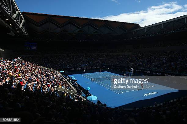 A general view of Margaret Court Arena as Sam Groth of Australia and Lleyton Hewitt of Australia compete against Vasek Pospisil of Canada and Jack...