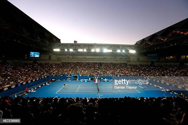 General view of Margaret Court Arena during the first round match between Marcos Baghdatis of Cyprus and Denis Istomin of Uzbekistan during day one...