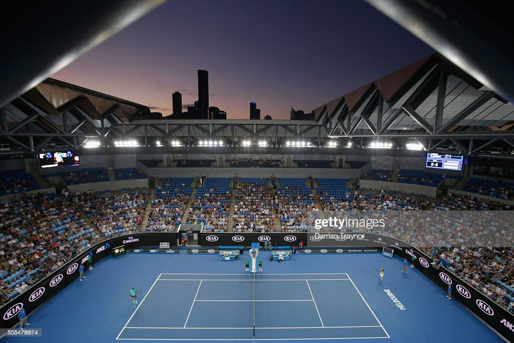 A general view of Margaret Court Arena during the first round match between Marcos Baghdatis and Jo-Wilfried Tsonga of France on day one of the 2016 Australian Open at Melbourne Park on January 18, 2016 in Melbourne, Australia.