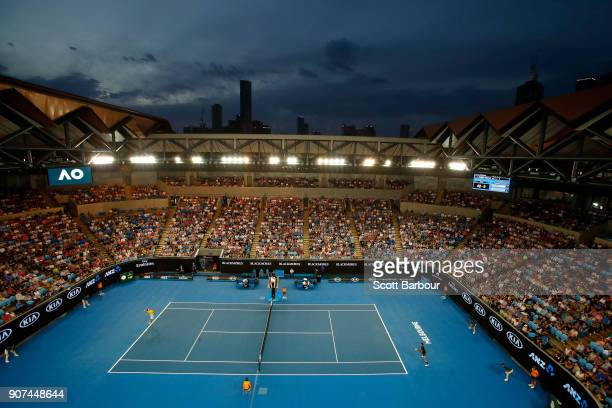 General view of Margaret Court Arena during the third round match between Albert RamosVinolas of Spain and Novak Djokovic of Serbia on day six of the...
