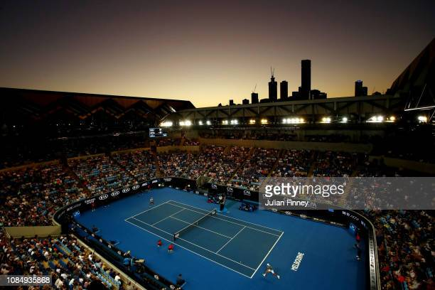 General view of Margaret Court Arena in the third round match between Lucas Pouille of France and Alexei Popyrin of Australia during day six of the...