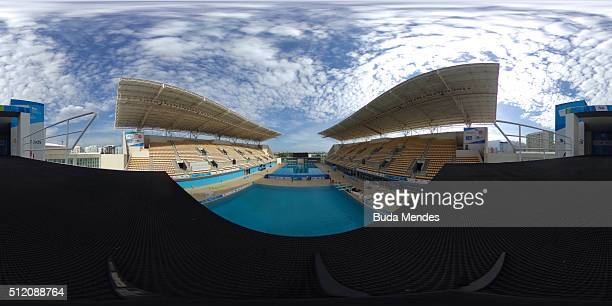 General view of Maria Lenk Aquatics Centre during the 2016 FINA Diving World Cup on February 24, 2016 in Rio de Janeiro, Brazil. The 2016 FINA Diving...