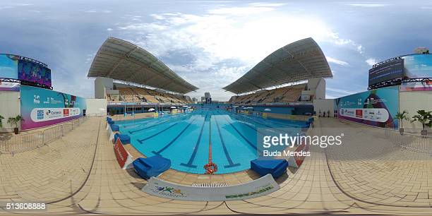 General view of Maria Lenk Aquatics Centre during the FINA Olympic Games Synchronised Swimming Qualification Tournament Aquece Rio Test Event for the...