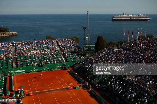A general view of Marin Cilic of Croatia in his match against Kei Nishikori of Japan during day six of the ATP Masters Series Monte Carlo Rolex...