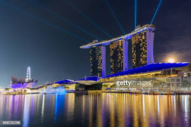 A General View of Marina Bay Sand at Night on September 17 2016 in Singapore Singapore