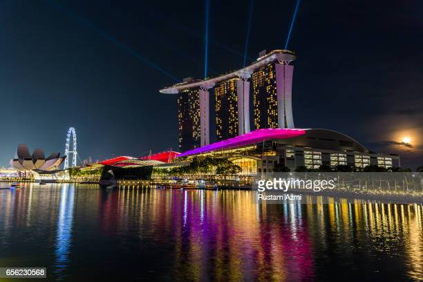 General View of Marina Bay Sand at Night on September 17, 2016 in Singapore, Singapore.