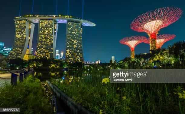 General View of Marina Bay Sand at Night on September 20, 2016 in Singapore, Singapore.