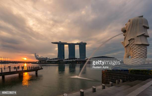 General View of Marina Bay Sand from Merlion Park at Sunrise on September 18, 2016 in Singapore, Singapore.
