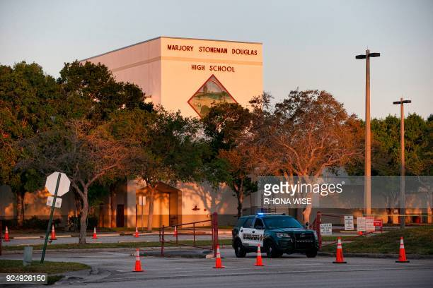 A general view of Marjory Stoneman Douglas High School as staff and teachers prepare for the return of students in Parkland Florida on February 27...
