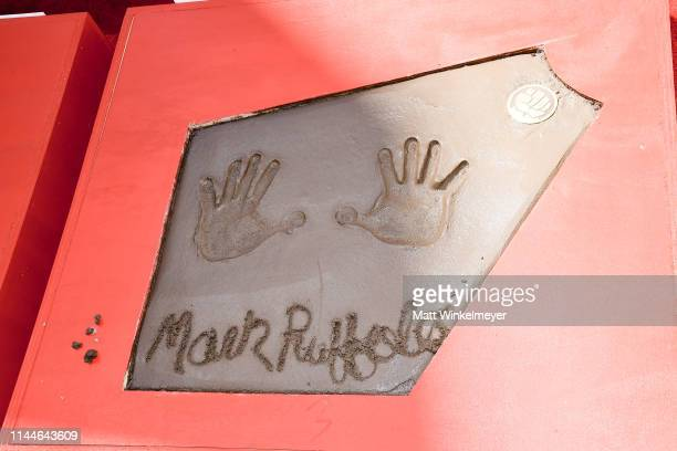 General view of Mark Ruffalo's handprint at the Marvel Studios' 'Avengers: Endgame' Cast Place Their Hand Prints In Cement At TCL Chinese Theatre...