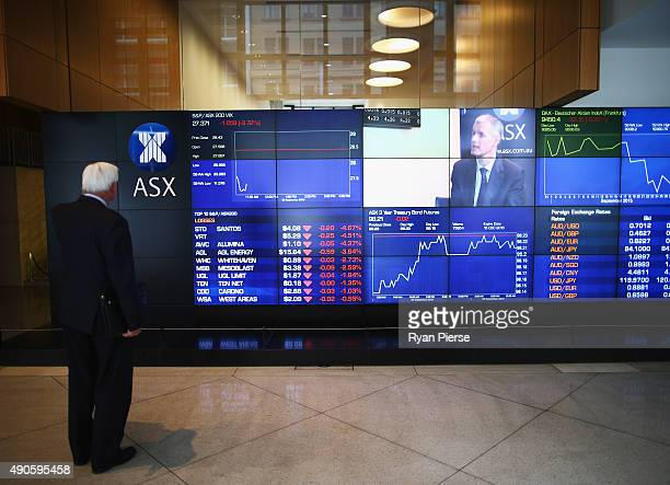 A general view of market boards at the ASX Exchange Centre on September 30 2015 in Sydney Australia Global stocks have fallen to their lowest level...
